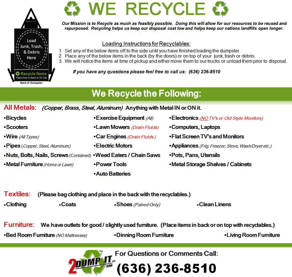 Items Accepted 2 Dump It Dumpsters Dumpster Rentals St