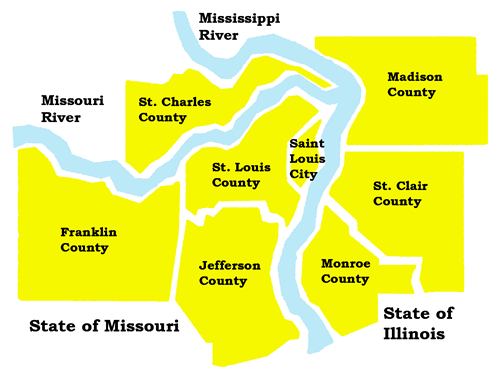 Depending on the counties included in the area, it can refer to the St. Louis, MO–IL metropolitan statistical area (MSA) or the St. Louis–St. Charles–Farmington, MO–IL combined statistical area (CSA).