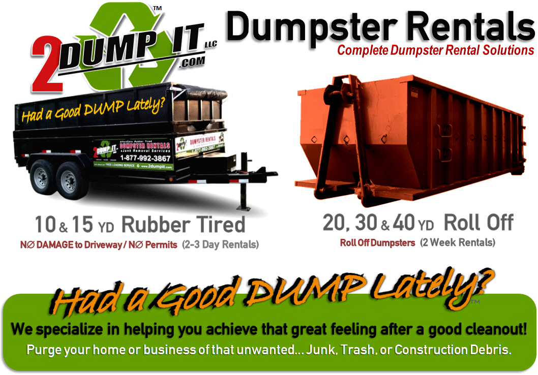 2 dump it dumpster rentals and junk removal services