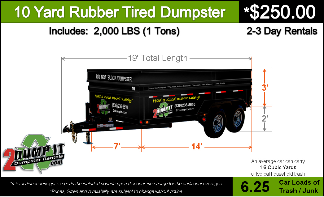 10 Yard Rubber Tired Dumpster Rental - 2 DUMP IT Dumpsters, Dumpster Rentals