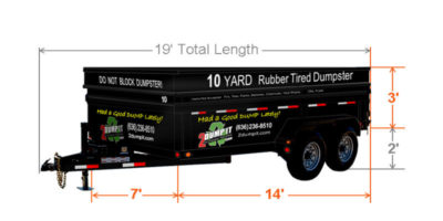 10 Yard Rubber Tired Dumpster Size