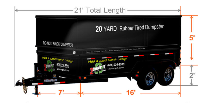 20 Yard Rubber Tired Dumpster Size