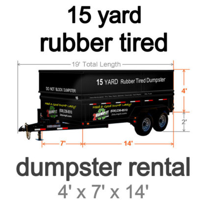 15 Yard Rubber Tired Dumpster