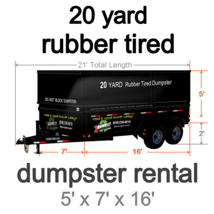 20 Yard Rubber Tired Dumpster